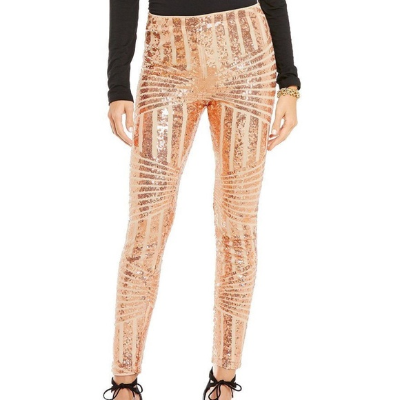 1517a4f151e94 Gianni Bini Pants | Nwt Small Rose Gold Sequin Legging | Poshmark